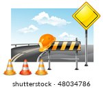 road warning cone  sign for...