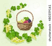 grapes with leaves background | Shutterstock . vector #480359161