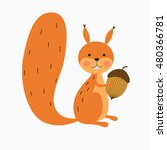 Happy Squirrel With Acorn On...