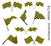 yellow and black checked racing ... | Shutterstock .eps vector #48036718