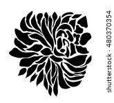 big rose silhouette graphic | Shutterstock . vector #480370354