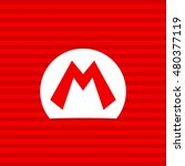 Mario bros symbol on a red background with a white frame | Shutterstock vector #480377119