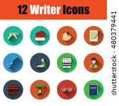 flat design writer icon set in...