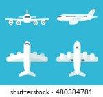 airplane set in flat cartoon... | Shutterstock .eps vector #480384781