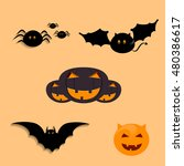 halloween party background with ... | Shutterstock .eps vector #480386617
