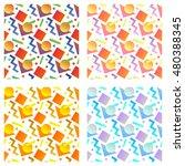 seamless geometrical memphis... | Shutterstock .eps vector #480388345