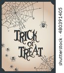 card for halloween with spiders ... | Shutterstock .eps vector #480391405