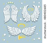 a set of angel wings  a halo... | Shutterstock .eps vector #480402685