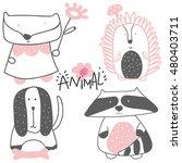 fox and raccoon | Shutterstock .eps vector #480403711