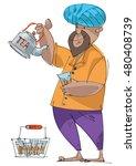 an indian street tea vendor  ... | Shutterstock .eps vector #480408739