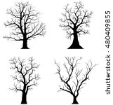 Collection Of Trees Silhouette...