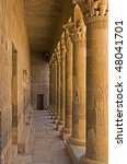 """The ancient columns of the temple """"Philae"""" near """"Assuan"""" in Egypt - stock photo"""