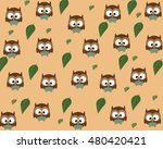 owls pattern leaves | Shutterstock .eps vector #480420421