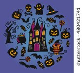 happy halloween vector flat... | Shutterstock .eps vector #480421741