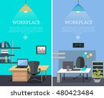set of workplace horizontal web ... | Shutterstock .eps vector #480423484