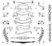 set of hand drawn vignettes in... | Shutterstock .eps vector #480424264