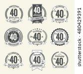 set of vintage anniversary... | Shutterstock .eps vector #480429391
