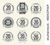 set of vintage anniversary... | Shutterstock .eps vector #480429469