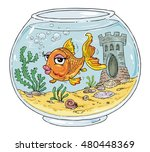 bowl with goldfish   fish tank  ... | Shutterstock .eps vector #480448369