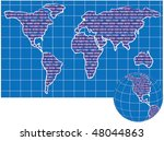 vector world map and globe  in... | Shutterstock .eps vector #48044863