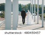dreamy wedding couple walks... | Shutterstock . vector #480450457
