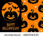happy halloween greeting card ... | Shutterstock .eps vector #480456535