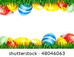 easter eggs in green grass... | Shutterstock . vector #48046063