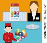 receptionist bellboy and hotel... | Shutterstock .eps vector #480461359