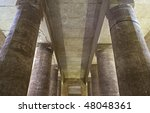 """The antique columns of the temple in """"Abydos"""" at Luxor in Egypt - stock photo"""