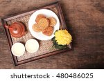 moon cakes and tea with space... | Shutterstock . vector #480486025