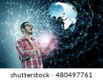 guy using tablet pc . mixed... | Shutterstock . vector #480497761