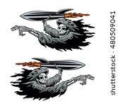 grim reaper launching missile | Shutterstock .eps vector #480509041