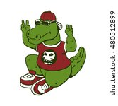 funny alligator with sunglasses ... | Shutterstock .eps vector #480512899