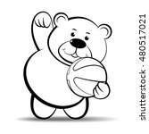 bear playing with basket ball... | Shutterstock .eps vector #480517021