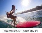 surfer girl on amazing blue... | Shutterstock . vector #480518914