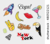 fashion patch badges with... | Shutterstock .eps vector #480522121