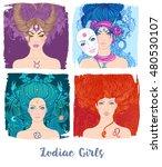 Zodiac Girls Set  Vector...