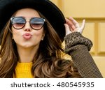 fashion woman in a hat and... | Shutterstock . vector #480545935