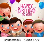 kids vector characters singing... | Shutterstock .eps vector #480554779