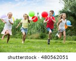 four friendly kids happily... | Shutterstock . vector #480562051