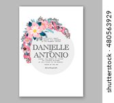 romantic pink peony bouquet... | Shutterstock .eps vector #480563929