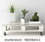 succulent plants on diy pallet... | Shutterstock . vector #480586411