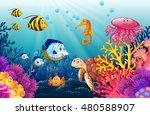 scene with lives underwater... | Shutterstock .eps vector #480588907