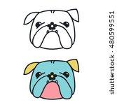 cute cartoon bulldog with... | Shutterstock .eps vector #480599551