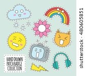 flat happy colorful patches... | Shutterstock .eps vector #480605851