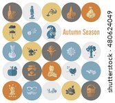 set of flat autumn icons.... | Shutterstock .eps vector #480624049