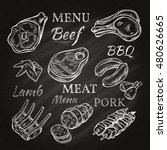 retro meat menu icons on... | Shutterstock . vector #480626665