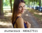 cute young woman in long brown... | Shutterstock . vector #480627511