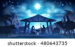 christmas nativity scene of... | Shutterstock . vector #480643735