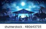 christmas nativity scene of... | Shutterstock . vector #480643735